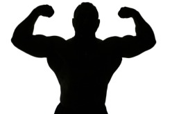 A body builder silhouette isolated on white background